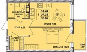 ЖК «Рыбацкая гавань», планировка 1-комнатной квартиры, 38.64 м²