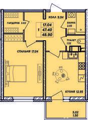 ЖК «Рыбацкая гавань», планировка 1-комнатной квартиры, 48.90 м²