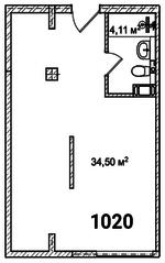 МФК «Avenue-Apart на Малом», планировка студии, 38.60 м²
