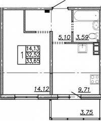ЖК «Алгоритм», планировка 1-комнатной квартиры, 33.65 м²