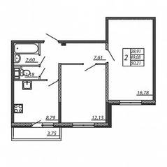 ЖК «Алгоритм», планировка 2-комнатной квартиры, 50.21 м²