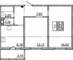 ЖК «Алгоритм», планировка 2-комнатной квартиры, 50.67 м²