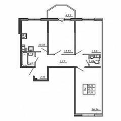 ЖК «Алгоритм», планировка 3-комнатной квартиры, 67.98 м²