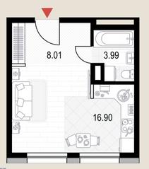 ЖК «Veren Next октябрьская», планировка студии, 28.90 м²