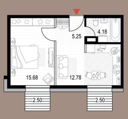 ЖК «Veren Next октябрьская», планировка студии, 40.39 м²