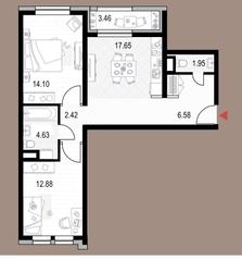 ЖК «Veren Next октябрьская», планировка 2-комнатной квартиры, 61.94 м²