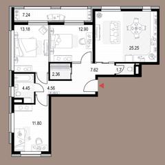 ЖК «Veren Next октябрьская», планировка 3-комнатной квартиры, 87.44 м²
