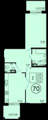 ЖК «Образцовый квартал 5», планировка 2-комнатной квартиры, 70.66 м²