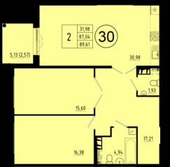 ЖК «Образцовый квартал 5», планировка 2-комнатной квартиры, 89.61 м²