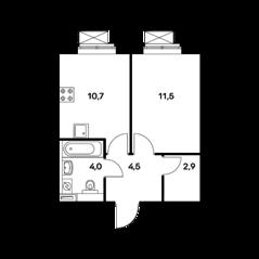 ЖК «Ильменский 17», планировка 1-комнатной квартиры, 33.60 м²