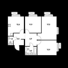 ЖК «Ильменский 17», планировка 3-комнатной квартиры, 72.40 м²