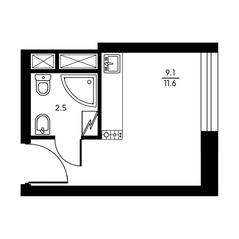 ЖК «My Space на Дегунинской», планировка студии, 11.60 м²