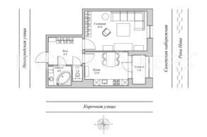 ЖК «Монополист», планировка 1-комнатной квартиры, 49.80 м²