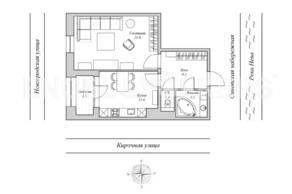 ЖК «Монополист», планировка 1-комнатной квартиры, 48.30 м²