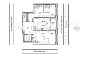 ЖК «Монополист», планировка 2-комнатной квартиры, 75.70 м²