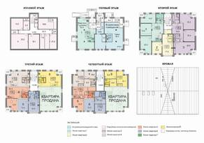 МЖК «Петродворцовая резиденция», планировка 3-комнатной квартиры, 77.00 м²