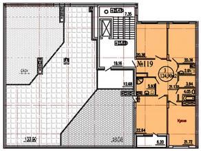 ЖК «Дубровка», планировка 3-комнатной квартиры, 127.30 м²