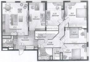 ЖК «Дубровка», планировка 3-комнатной квартиры, 185.00 м²