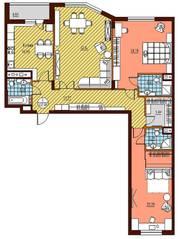 ЖК «Дубровка», планировка 3-комнатной квартиры, 143.50 м²