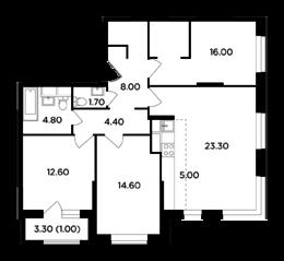 ЖК «Одинград. Квартал Семейный», планировка 4-комнатной квартиры, 91.40 м²