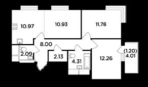 ЖК «Одинград. Квартал Семейный», планировка 3-комнатной квартиры, 63.67 м²