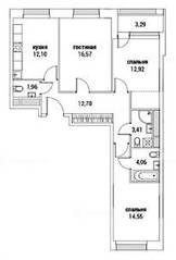 ЖК «Alia», планировка 3-комнатной квартиры, 79.92 м²