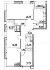 ЖК «Alia», планировка 4-комнатной квартиры, 112.52 м²
