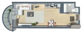 ЖК «Шуваловский Park», планировка студии, 32.10 м²