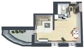 ЖК «Шуваловский Park», планировка студии, 36.00 м²