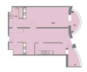 ЖК «Шуваловский Park», планировка 2-комнатной квартиры, 67.20 м²