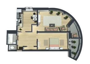ЖК «Шуваловский Park», планировка 2-комнатной квартиры, 78.20 м²