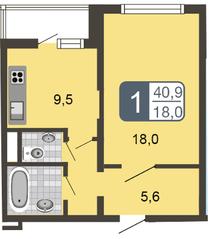 ЖК «Мой адрес на Дмитровском, 169», планировка 2-комнатной квартиры, 66.10 м²