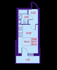 ЖК «Добрыня-2», планировка студии, 25.12 м²