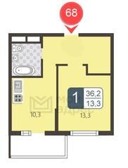 ЖК «Мой адрес в Северном», планировка 1-комнатной квартиры, 36.20 м²