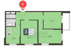ЖК «Мой адрес в Северном», планировка 3-комнатной квартиры, 67.20 м²