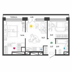 МФК «Донской квартал», планировка 2-комнатной квартиры, 50.00 м²
