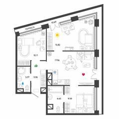 МФК «Донской квартал», планировка 3-комнатной квартиры, 77.00 м²