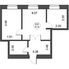 МФК «Парковая. Апартаменты», планировка 2-комнатной квартиры, 41.90 м²
