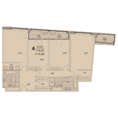 ЖК «Prizma», планировка 4-комнатной квартиры, 119.28 м²