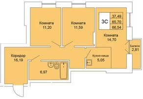 ЖК «Расцветай на Гоголя», планировка 3-комнатной квартиры, 66.54 м²