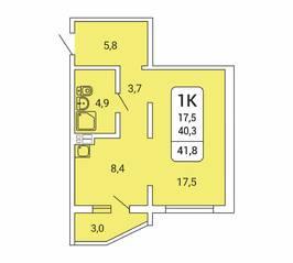 ЖК «Дом на Республиканской», планировка 1-комнатной квартиры, 41.80 м²
