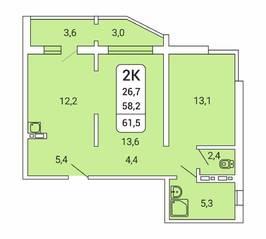 ЖК «Дом на Республиканской», планировка 2-комнатной квартиры, 61.50 м²
