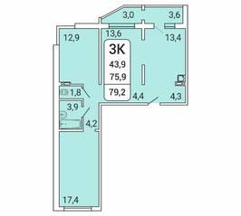 ЖК «Дом на Республиканской», планировка 3-комнатной квартиры, 79.20 м²