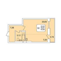 ЖК «Дом на Федосеева», планировка 1-комнатной квартиры, 42.68 м²