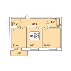 ЖК «Дом на Федосеева», планировка 2-комнатной квартиры, 55.76 м²