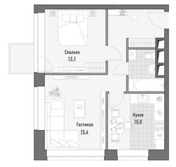 МФК Премиум-квартал «Jazz», планировка 2-комнатной квартиры, 54.03 м²