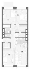 МФК Премиум-квартал «Jazz», планировка 3-комнатной квартиры, 100.60 м²