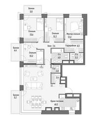 МФК Премиум-квартал «Jazz», планировка 4-комнатной квартиры, 129.67 м²