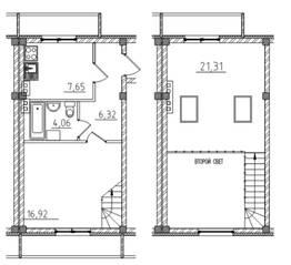 МЖК «Тихий город», планировка 1-комнатной квартиры, 56.39 м²