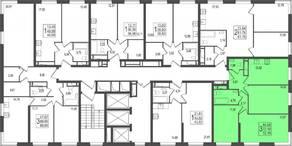 ЖК «TREND», планировка 3-комнатной квартиры, 72.18 м²